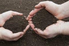 Χώμα στα χέρια Στοκ Φωτογραφία