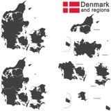 χώρα Δανία και περιοχές διανυσματική απεικόνιση
