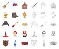 Χώρα Ρωσία, κινούμενα σχέδια ταξιδιού, εικονίδια περιλήψεων στην καθορισμένη συλλογή για το σχέδιο Διανυσματικό απόθεμα συμβόλων  απεικόνιση αποθεμάτων