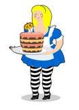 χώρα των θαυμάτων της Alice Το κέικ με τρώει Παχιά και ηλικιωμένη εύθυμη γυναίκα Στοκ φωτογραφία με δικαίωμα ελεύθερης χρήσης