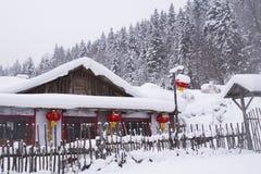 Χώρα χιονιού στην Κίνα κατά τη διάρκεια της ημέρας στοκ φωτογραφία
