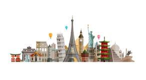 Χώρες θεών του κόσμου Ταξίδι, έννοια ταξιδιού επίσης corel σύρετε το διάνυσμα απεικόνισης απεικόνιση αποθεμάτων