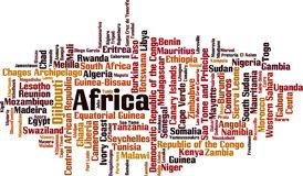 Χώρες στο σύννεφο λέξης της Αφρικής απεικόνιση αποθεμάτων