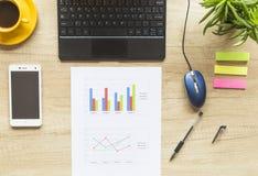 Χώρος εργασίας με το φλυτζάνι, το smartphone, το έγγραφο, το σημειωματάριο και το lap-top καφέ στο ξύλινο υπόβαθρο Τοπ όψη deskto στοκ εικόνες