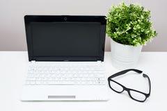 Χώρος εργασίας στο σπίτι ή το γραφείο - lap-top, γυαλιά και εγκαταστάσεις Στοκ Φωτογραφία