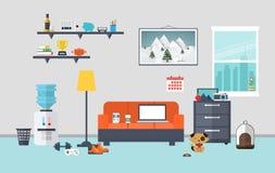 Χώρος εργασίας σχεδιαστών στο δωμάτιο εργασίας απεικόνιση αποθεμάτων