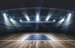 Χώρος καλαθοσφαίρισης, τρισδιάστατη απόδοση ελεύθερη απεικόνιση δικαιώματος
