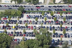 Χώρος στάθμευσης αυτοκινήτων, άποψη άνωθεν Στοκ Εικόνες