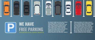 Χώρος στάθμευσης πόλεων με μια ομάδα διαφορετικής τοπ άποψης αυτοκινήτων Δημόσιος υπαίθριος σταθμός αυτοκινήτων Διανυσματική επίπ διανυσματική απεικόνιση