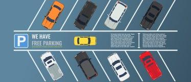Χώρος στάθμευσης πόλεων με μια ομάδα διαφορετικής τοπ άποψης αυτοκινήτων Δημόσιος υπαίθριος σταθμός αυτοκινήτων Διανυσματική επίπ απεικόνιση αποθεμάτων