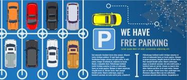 Χώρος στάθμευσης πόλεων με μια ομάδα διαφορετικής τοπ άποψης αυτοκινήτων Δημόσιος υπαίθριος σταθμός αυτοκινήτων Διανυσματική επίπ ελεύθερη απεικόνιση δικαιώματος