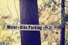 Χώρος στάθμευσης σημαδιών στο δέντρο πεύκων Στοκ Εικόνες