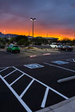 Χώρος στάθμευσης στο ηλιοβασίλεμα Στοκ Φωτογραφία