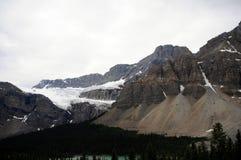 Χώρος στάθμευσης του Καναδά Icefield με τον παγετώνα βουνών στοκ φωτογραφία