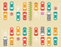 Χώρος στάθμευσης υπαίθριων σταθμών αυτοκινήτων απεικόνιση αποθεμάτων