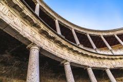 Χώρος στο παλάτι του Carlos 5 Alhambra σύνθετο στη Γρανάδα στοκ εικόνες με δικαίωμα ελεύθερης χρήσης