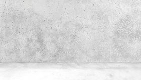 Χώρος φιαγμένος από συμπαγή τοίχο και συγκεκριμένο άσπρο εσωτερικό FloorAbstract του κενού δωματίου με τους συμπαγείς τοίχους Στοκ Εικόνα