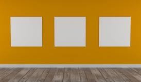 Χλεύη επάνω στην αφίσα στον κίτρινο τοίχο στοκ εικόνες