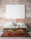 Χλεύη επάνω στην κενή αφίσα στον τοίχο του καθιστικού, τρισδιάστατη απεικόνιση
