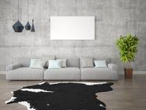 Χλεύη επάνω στο δημιουργικό καθιστικό αφισών με έναν μοντέρνο καναπέ στοκ φωτογραφίες