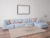 Χλεύη επάνω στο καθιστικό αφισών με έναν μοντέρνο καναπέ στοκ φωτογραφία με δικαίωμα ελεύθερης χρήσης