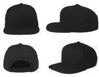 Χλεύη επάνω στο κενό επίπεδο αιφνιδιαστικό πίσω σύνολο άποψης καπέλων απομονωμένο ο Μαύρος Στοκ εικόνες με δικαίωμα ελεύθερης χρήσης