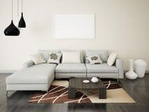 Χλεύη επάνω στο μοντέρνο καθιστικό αφισών στοκ φωτογραφία με δικαίωμα ελεύθερης χρήσης