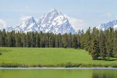 Χλοώδες νερό λόφων Tetons ακόμα Στοκ Εικόνες