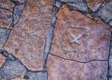 Χ σημάδι στην πέτρα Στοκ φωτογραφίες με δικαίωμα ελεύθερης χρήσης