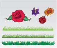 Χλόη και πακέτο λουλουδιών Διανυσματική απεικόνιση