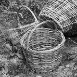 Ψάθινα καλάθια στη χλόη στοκ φωτογραφίες με δικαίωμα ελεύθερης χρήσης