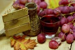 Ψάθινα μπουκάλι και σταφύλια κρασιού σπιτιών Στοκ εικόνα με δικαίωμα ελεύθερης χρήσης