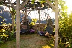Ψάθινες κρεμώντας καρέκλες στον κήπο με το πράσινο υπόβαθρο φύσης Στοκ φωτογραφία με δικαίωμα ελεύθερης χρήσης