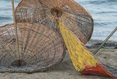 3 ψάθινες ομπρέλες στην παραλία Στοκ φωτογραφίες με δικαίωμα ελεύθερης χρήσης