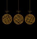 Ψάθινες σφαίρες Χριστουγέννων που απομονώνονται στο Μαύρο διανυσματική απεικόνιση