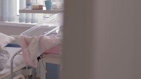 Ψάθινη κούνια μωρών κοντά στη μητέρα ύπνου στο νοσοκομείο μητρότητας απόθεμα βίντεο