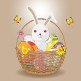 Ψάθινο διάνυσμα κουνελιών αυγών Πάσχας καλαθιών Στοκ Φωτογραφίες