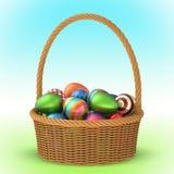 Ψάθινο καλάθι με τα αυγά Πάσχας τρισδιάστατα στοκ φωτογραφίες με δικαίωμα ελεύθερης χρήσης