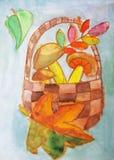 Ψάθινο καλάθι με το watercolor μανιταριών Στοκ εικόνες με δικαίωμα ελεύθερης χρήσης