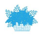 Ψάθινο σύνολο καλαθιών των μαργαριτών λουλουδιών Στοκ εικόνες με δικαίωμα ελεύθερης χρήσης