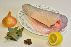 Ψάρια για να μαγειρεψει σε μια πιατέλα και τα καρυκεύματα γύρω Στοκ φωτογραφία με δικαίωμα ελεύθερης χρήσης
