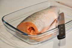 Ψάρια για το μαγείρεμα και μαχαίρι σε έναν δίσκο γυαλιού Στοκ Εικόνα
