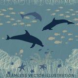 Ψάρια δελφινιών άνευ ραφής Στοκ Εικόνα