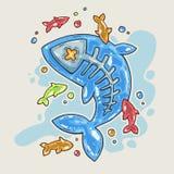 Ψάρια ζελατίνας κινούμενων σχεδίων Απεικόνιση κινούμενων σχεδίων στο κωμικό καθιερώνον τη μόδα ύφος Ελεύθερη απεικόνιση δικαιώματος