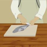 Ψάρια καθαρισμού στον πίνακα Στοκ φωτογραφίες με δικαίωμα ελεύθερης χρήσης