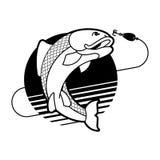 Ψάρια και έμβλημα ράβδων αλιείας Σημάδι ψαράδων λεσχών αλιείας διάνυσμα Στοκ φωτογραφία με δικαίωμα ελεύθερης χρήσης