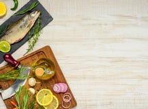 Ψάρια και μαγειρεύοντας συστατικά στη διαστημική περιοχή αντιγράφων Στοκ εικόνα με δικαίωμα ελεύθερης χρήσης