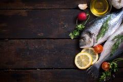 Ψάρια και συστατικά Gilthead Στοκ Εικόνες