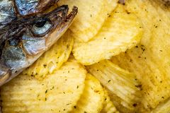 Ψάρια και τσιπ Αποξηραμένα ψάρια και fluted τσιπ, ένα πρόχειρο φαγητό μπύρας r r στοκ εικόνες