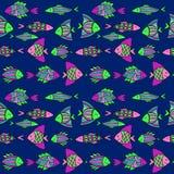 Ψάρια κινούμενων σχεδίων της Νίκαιας καθορισμένα άνευ ραφής διάνυσμα προτύπων Στοκ Εικόνες